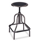 Diesel Series Backless Industrial Stool, High Base, Black Leather Seat SAF6665