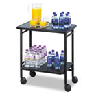 Folding Office/Beverage Cart, Two-Shelf, 25w x 15d x 30h, Black SAF8965BL