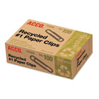 Recycled Paper Clips, No. 1 Size, 100/Box, 10 Boxes/Pack ACC72365