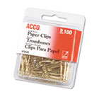 "Paper Clips, Wire, No. 2, 1-1/8"", Gold Tone, 100/Box ACC72533"