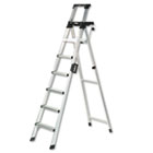 Eight-Foot Lightweight Aluminum Folding Step Ladder w/Leg Lock & Handle, 300lb CSC2081AABLD