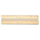 "Wood Ruler, Metric and 1/16"" Scale with Single Metal Edge, 30 cm ACM10375"