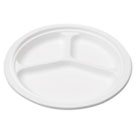 "Bagasse 10"" Three-Compartment Plate, Round, White, 50/Pack SVAP007"