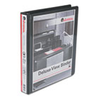 "Deluxe Round Ring Vinyl View Binder, 1"" Capacity, Black UNV20711"