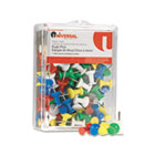 "Colored Push Pins, Plastic, Rainbow, 3/8"", 100/Pack UNV31310"