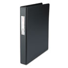 "Suede Finish Vinyl Round Ring Binder With Label Holder, 1"" Capacity, Black UNV31411"