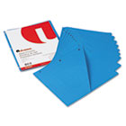 Slash-Cut Pockets for Three-Ring Binders, Jacket, Letter, 11 Pt., Blue, 10/Pack UNV61681