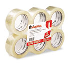 "Box Sealing Tape, 2"" x 110yds, 3"" Core, Clear, 6/Pack UNV63500"