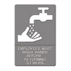 ADA Sign, EMPLOYEES MUST WASH HANDS... Tactile Symbol/Braille, 6 x 9, Gray USS4726