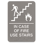 ADA Sign, 6 x 9, In Case of Fire Use Stairs, Gray USS5400