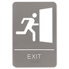 ADA Sign, 6 x 9, Exit, Gray USS5402