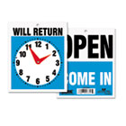 Double-Sided Open/Will Return Sign w/Clock Hands, Plastic, 7 1/2 x 9 USS9382