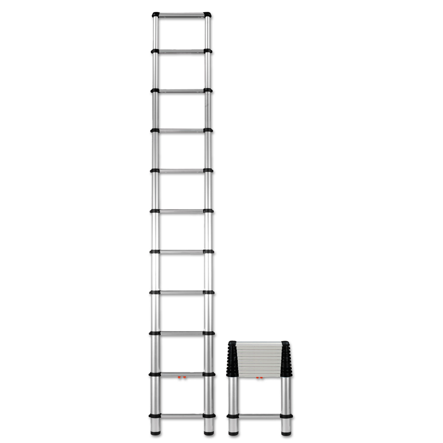 Telescopic extension ladder, 14 ft, 250lb, 10-step, aluminum, sold as 1 each