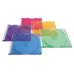 CD/DVD Slim Case, Assorted Colors, 50/Pack VER94178