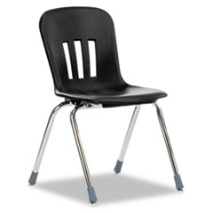 "Metaphor Series Classroom Chair, 18"" Seat Height, Black/Chrome, 4/Carton VIRN918BLK01CHM"