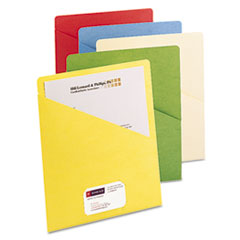 Slash Pocket Folders, Letter, 11 Point, Blue/Green/Manila/Red/Yellow, 25/Pack SMD75425