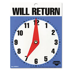 "Will Return Later Sign, 5"" x 6"", Blue COS098010"