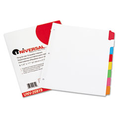 Write-On/Erasable Indexes, Eight Multicolor Tabs, Letter, White, 8/Set UNV20819