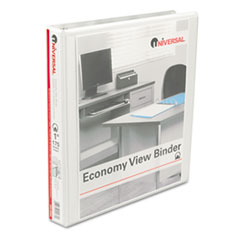 "Round Ring Economy Vinyl View Binder, 1"" Capacity, White, 12/Carton UNV20962CT"