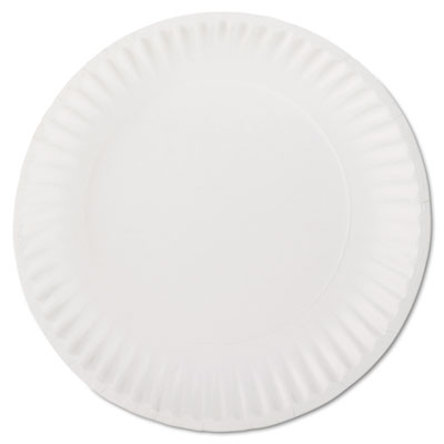 "White paper plates, 9"" diameter, 100/bag, sold as 1 package"