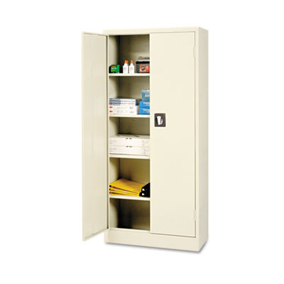 Space saver storage cabinet, four shelves, 30w x 15d x 66h, putty, sold as 1 each