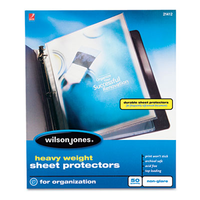 Heavyweight top-loading sheet protectors, nonglare finish, letter, 50/box, sold as 1 box, 50 each per box