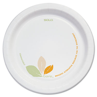 "Bare paper eco-forward dinnerware, 6"" plate, green/tan, 500/carton, sold as 1 carton, 500 each per carton"