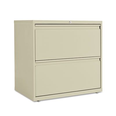 Two-drawer lateral file cabinet, 30w x 19-1/4d x 28-3/8h, putty, sold as 1 each