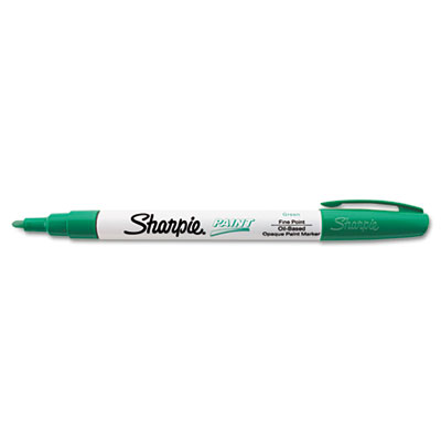 Permanent paint marker, fine point, green, sold as 1 each