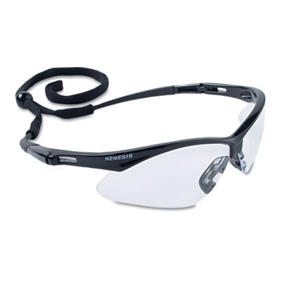 Nemesis safety glasses, black frame, clear lens, sold as 1 each