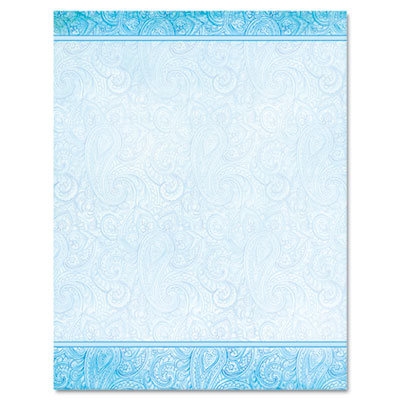Design paper, 24 lb, aqua paisley, 8 1/2 x 11, 100/pack, sold as 1 package