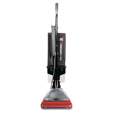 Commercial lightweight bagless upright vacuum, 14lb, gray/red, sold as 1 each