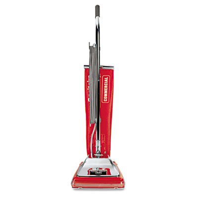 Quick kleen commercial upright vacuum with vibra-groomer ii, 17.5lb, red, sold as 1 each