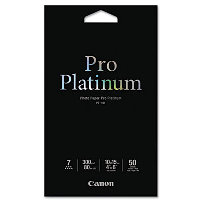 Photo paper pro platinum, high gloss, 4 x 6, 80 lb., white, 50 sheets/pack, sold as 1 package