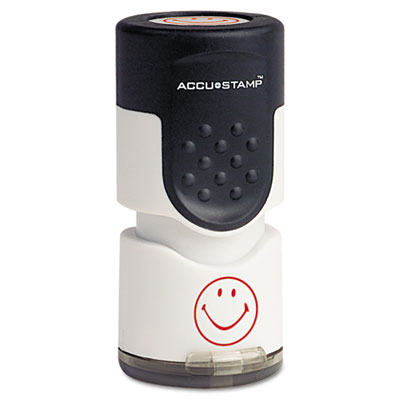 "Accustamp pre-inked round stamp with microban, smiley, 5/8"" dia., red, sold as 1 each"