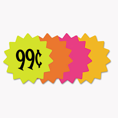 "Die cut paper signs, 4"" round, assorted colors, pack of 60 each, sold as 1 each"