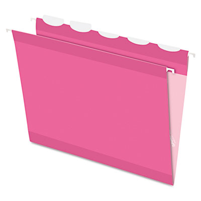 Colored reinforced hanging folders, 1/5 tab, letter, pink, 20/box, sold as 1 box, 20 each per box
