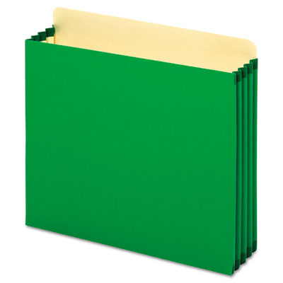 File cabinet pockets, straight cut, 1 pocket, letter, green, sold as 1 box, 10 each per box