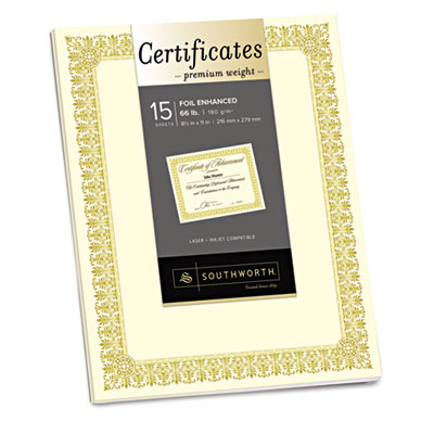 Premium certificates, ivory , fleur gold foil border, 66 lb, 8.5 x 11, 15/pack, sold as 1 package