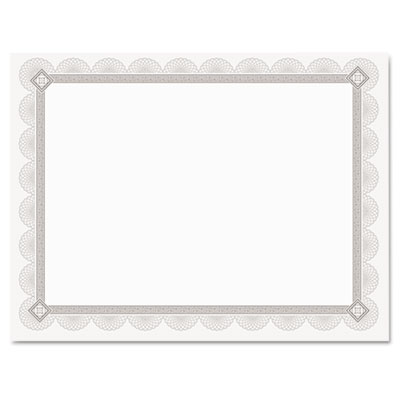 Premium certificates, white, spiro silver foil border, 66 lb,  8,5 x 11, 15/pack, sold as 1 package