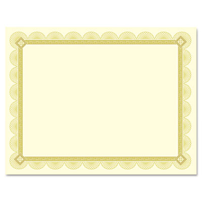 Premium certificates, ivory, spiro gold foil border, 66 lb,  8.5 x 11, 15/pack, sold as 1 package