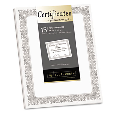 Premium certificates, white, fleur silver foil border, 66 lb, 8.5 x 11, 15/pack, sold as 1 package
