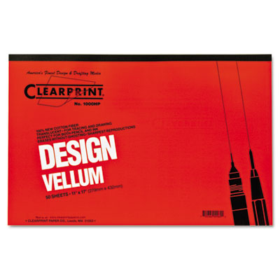 Design vellum paper, 16lb, white, 11 x 17, 50 sheets/pad, sold as 1 pad