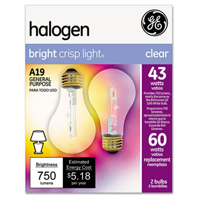 Halogen bulb, globe, 43 watts, 2/pack, sold as 1 package