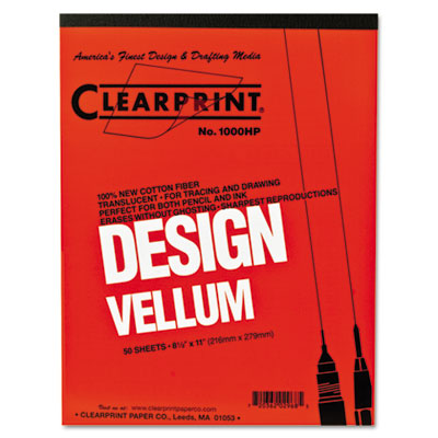 Design vellum paper, 16lb, white, 8-1/2 x 11, 50 sheets/pad, sold as 1 pad