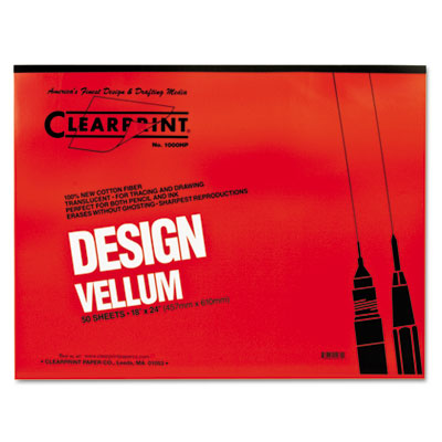 Design vellum paper, 16lb, white, 18 x 24, 50 sheets/pad, sold as 1 pad