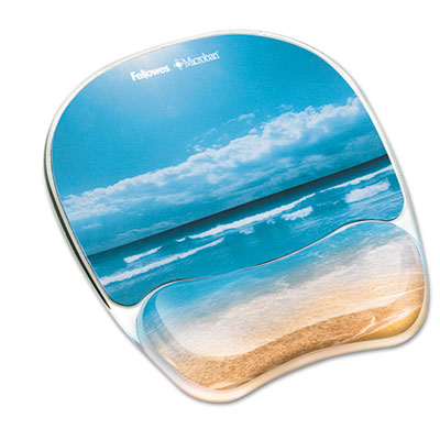 Gel mouse pad w/wrist rest, photo, 7 7/8 x 9 1/4, sandy beach, sold as 1 each