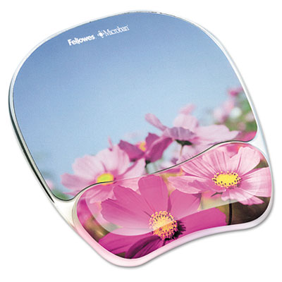 Gel mouse pad w/wrist rest, photo, 9 1/4 x 7 1/3, pink flowers, sold as 1 each