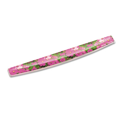 Gel keyboard wrist rest w/microban protection, 18 9/16 x 2 5/16, pink flowers, sold as 1 each