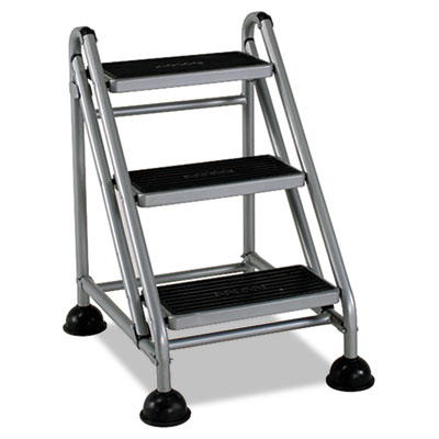 Rolling commercial step stool, 3-step, 26 3/5 spread, platinum/black, sold as 1 each